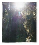 Sun Penetrates The Redwood Forest Fleece Blanket
