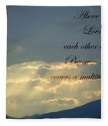 Sun Rays 1 Peter Chapter 4 Verse 8 Fleece Blanket