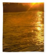Sun Rays On The Payette River Fleece Blanket