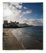 Sun Sand And Waves - Waikiki Honolulu Hawaii Fleece Blanket