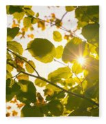 Sun Shining Through Leaves Fleece Blanket
