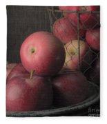 Sun Warmed Apples Still Life Square Fleece Blanket