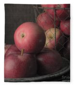 Sun Warmed Apples Still Life Square Fleece Blanket