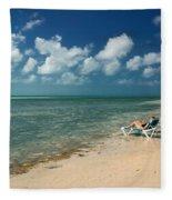 Sunbathers On The Beach Fleece Blanket