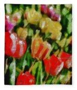 Sunbathing Tulips Fleece Blanket