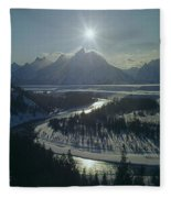 1m9313-sunburst Over Grand Teton, Wy Fleece Blanket