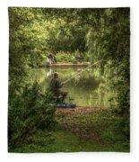 Sunday Fishing At The Lake Fleece Blanket