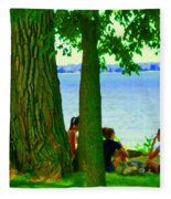 Sunday Picnic On The Lake Maple Trees At The Canal Pte Claire Montreal Waterscene Carole Spandau Fleece Blanket