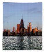 Sundown In The Chicago Canyons Fleece Blanket