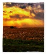 Sundown On The Working Farmer Fleece Blanket
