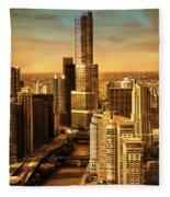Sundown On Trump Tower Fleece Blanket