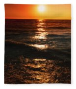 Sundown Reflections On Lake Michigan  01 Fleece Blanket