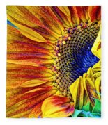 Sunflower Abstract Fleece Blanket