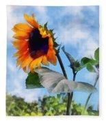 Sunflower Against The Sky Fleece Blanket