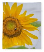 Sunflower And Bee Fleece Blanket