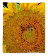 Sunflower And Bees Fleece Blanket
