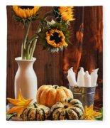 Sunflower And Gourds Still Life Fleece Blanket