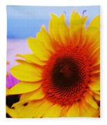 Sunflower At Beach Fleece Blanket
