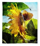 Sunflower Butterfly And Bee Fleece Blanket
