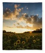 Sunflower Field Sunset Fleece Blanket