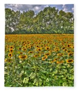 Sunflower Fields Ford World Headquarters Dearborn Mi Fleece Blanket