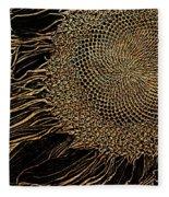 Sunflower Gold Leaf Sketch Fleece Blanket