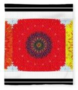 Sunflower Trio - Triptych - Flowers Fleece Blanket