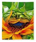Sunflower Volunteer Half Bloom Fleece Blanket