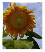 Sunflower With Busy Bees Fleece Blanket