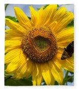 Sunflower With Butterfly Fleece Blanket