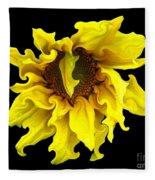 Sunflower With Curlicues Effect Fleece Blanket
