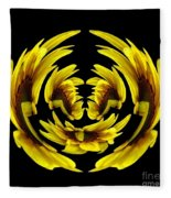 Sunflower With Warp And Polar Coordinates Effects Fleece Blanket