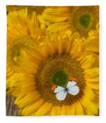 Sunflower With White Butterfly Fleece Blanket