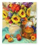 Sunflowers And Copper Fleece Blanket