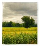 Sunflowers And The Tree Fleece Blanket by Nancy De Flon