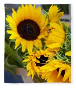 Sunflowers At Market Fleece Blanket