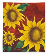 Sunflowers At Sunset Fleece Blanket