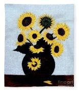 Sunflowers Expressive Brushstrokes Fleece Blanket