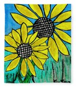 Sunflowers For Fun Fleece Blanket