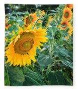 Sunflowers For Wishes Fleece Blanket