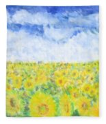 Sunflowers In A Field In  Texas Fleece Blanket