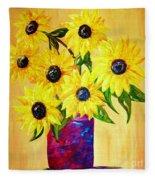 Sunflowers In A Red Pot Fleece Blanket