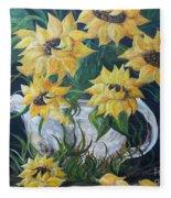 Sunflowers In An Antique Country Pot Fleece Blanket