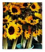 Sunflowers In Blue Bowls Fleece Blanket