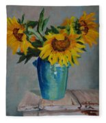 Sunflowers In Blue Vase Fleece Blanket