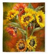Sunflowers In Sunflower Vase - Square Fleece Blanket
