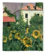 Sunflowers In The Garden At Petit Gennevilliers  Fleece Blanket