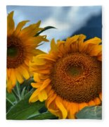 Sunflowers In The Wind Fleece Blanket