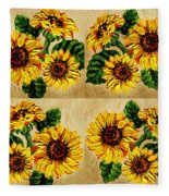 Sunflowers Pattern Country Field On Wooden Board Fleece Blanket