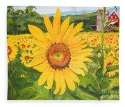 Sunflowers - Red Barn - Pennsylvania Fleece Blanket